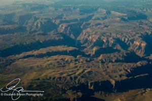 View from 38,000 feet west of the Grand Canyon