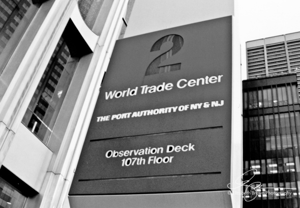 2 World Trade Center Sign, New York, New York. December 3, 2000.